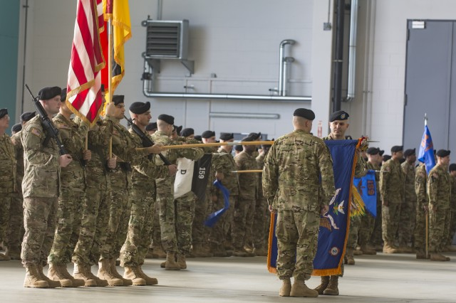 Command Sgt. Maj. Michael V. Telesco II, Command Sergeant Major for 2nd Battalion, 159th Aviation Regiment, shown casing the colors of his battalion. The 2nd Battalion, 159th Aviation Regiment, was reflagged as 1st Battalion, 3rd Aviation Regiment, 12th Combat Aviation Brigade, at Katterbach Army Airfield, Germany, on October 8th, 2015. (U.S. Army photo by Sgt. Thomas Mort, 12th CAB)
