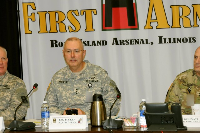 First Army Commanding General, Lt. Gen. Michael S. Tucker, (center) welcomes attendees to the First Army Fall Commanders Conference on Tuesday in the Pershing Conference Room of First Army headquarters. Flanking Tucker are First Army Deputy Commanding General for Operations, Maj. Gen. Charles Whittington Jr., and First Army Deputy Commanding General for Support, Maj. Gen. Paul Benenati.