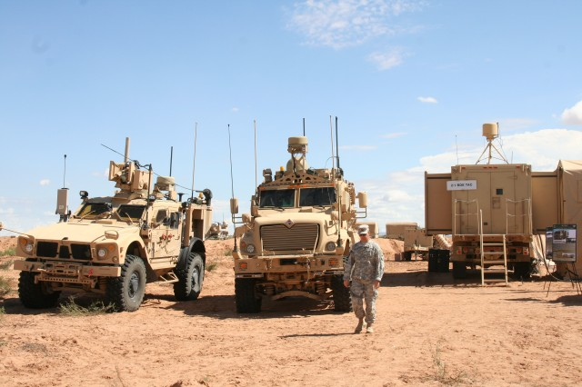 Warfighter Information Network-Tactical Increment 2-equipped vehicles are used as part of the brigade's mobile Tactical Command Post during Network Integration Evaluation 16.1 on Fort Bliss, Texas, and White Sands Missile Range, N.M., Sept. 23, 2015.
