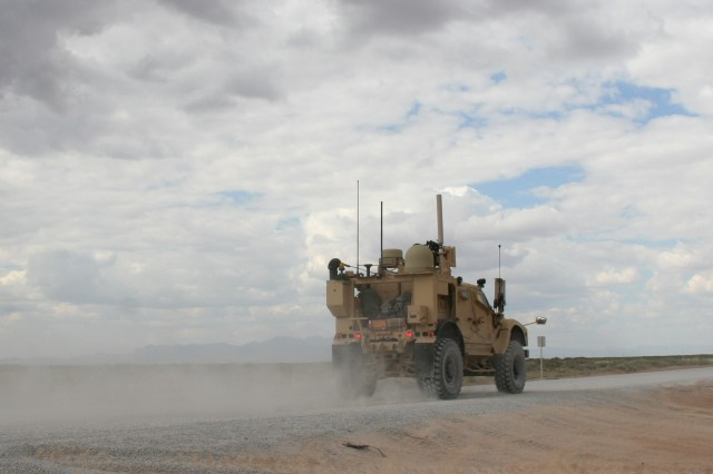 A Warfighter Information Network-Tactical Increment 2 Point of Presence vehicle provides on-the-move mission command and advanced network communications capabilities during Network Integration Evaluation 16.1 on Fort Bliss, Texas, on Sept. 23, 2015.