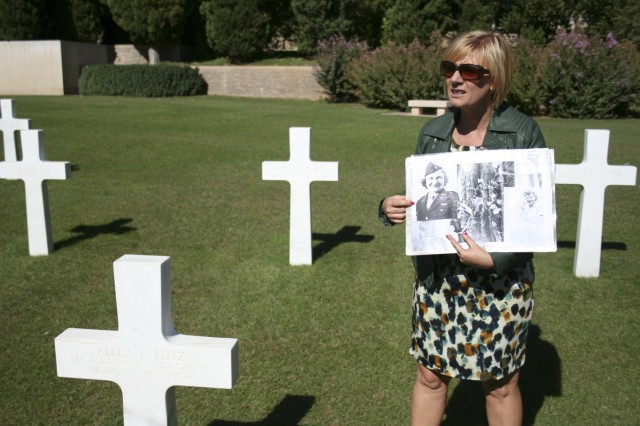 Allison Libersa, assistant superintendent of the Rhone American Cemetery, shares the story of 1st Lieutenant Aleda E. Lutz, the only female buried at the cemetery Draguignan, France, Sept. 23, 2015.