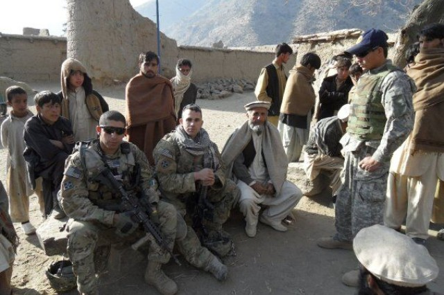 Then-2nd Lt. Florent Groberg and 1st Lt. Antonio Salinas are shown in a local Afghan village in Kunar province, Afghanistan, January 2010.
