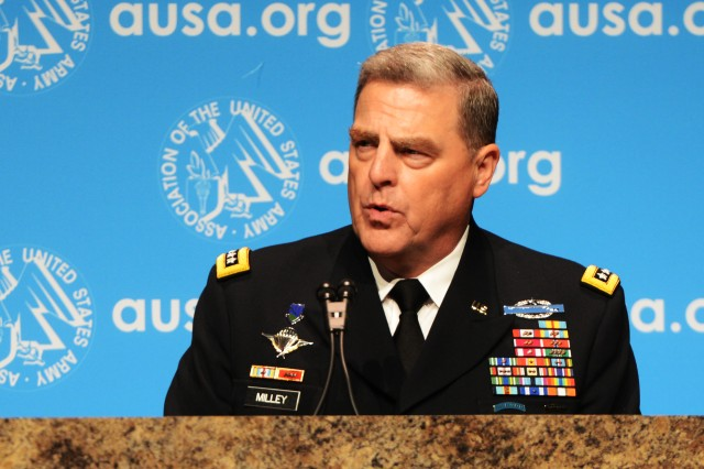 Army Chief of Staff Gen. Mark A. Milley serves as keynote speaker at the Dwight David Eisenhower Luncheon during the annual meeting of the Association of the United States Army, Oct. 13, 2015.