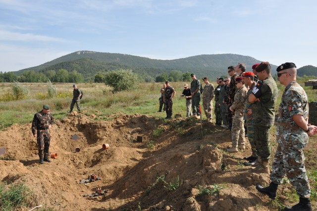 Students at a combined weapons intelligence course survey a bomb-blast crater during a three-week course held at the NATO Counter-Improvised Explosive Device Center of Excellence held in Szentendre, Hungary, Oct. 1, 2015.