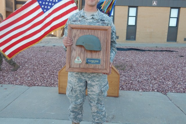 The Advanced Combat helmet that saved Sgt. Christopher Thompson's life, Oct. 16, 2015, in Afghanistan, was returned to him during a ceremony at Fort Carson, Colo.