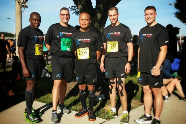 From left, Chief Warrant Officer 3 Jean Belizaire, U.S. Army Sustainment Command; Lt. Col. Joseph Gray, First Army; Master Sgt. Efren Delpilar, ASC; Capt. Travis Lynch, ASC; and Capt. Justin Bergen, ASC, compete at the Army Ten-Miler in Washington, D.C., Oct. 10. (Courtesy photo)