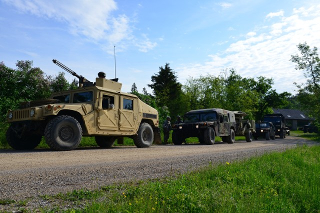 U.S. Army paratroopers assigned to the 173rd Airborne Brigade Support Battalion conduct a convoy May 17, 2015, at Postonja, Slovenia during Neptune Thrust 2015. Neptune Thrust is a combined exercise between the 173rd Airborne Brigade and the Slovenian 1st Brigade focused on enhancing interoperability and developing individual technical skills.