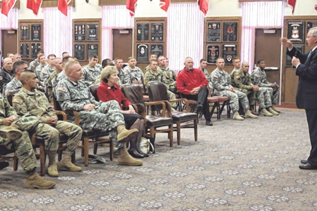 Vinton G. Dove talks to members of the Engineer Regiment about his father, Pvt. Vinton W. Dove, a bulldozer operator, who was instrumental during the Omaha beach landing on D-Day.