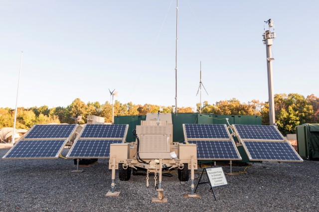 Renewable Energy for Distributed Under-Supplied Command Environments, which is a mobile, scalable framework of solar panels enabling remote power generation, upgraded energy storage devices, and power management controls that reduce power requirements from generators is shown. Army researchers assessed energy saving technologies and quality-of-life standards for extra-small and small base camps of 50-1,000 Soldiers at the Sustainability Logistics Basing, Science and Technology Objective-Demonstration Demonstration 1 held at the Fort Devens' Force Provider facility in Massachusetts.