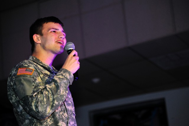 PRESIDIO OF MONTEREY, Calif. -- Pvt. Connor Perry, 229th Military Intelligence Battalion, performs during the Presidio's Rising Star final round at the Hobson Rec Center, Sept. 25.