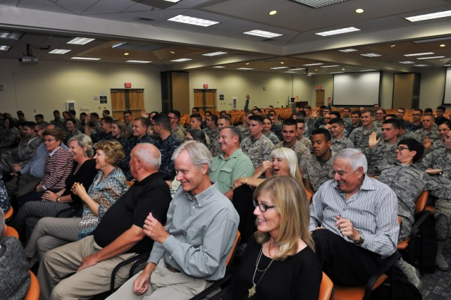 Maj. Gen. James A. Adkins, a 1976 Defense Language Institute Foreign Language Center graduate in Russian, spoke to current Russian students at the institute's European and Latin American School Oct. 23. Adkins spoke to an audience of about 200 students about his experience and personal stories from his time as a student.