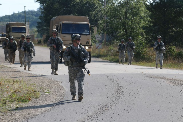 Fort Bliss Soldiers conduct a patrol and convoy on Fort McCoy's South Post as part of their mission requirements for an Emergency Deployment Readiness Exercise in September.