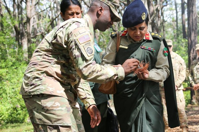 Female officers of the Bangladesh army paid a visit to Schofield Barracks, Hawaii, Oct. 22. This visit was to provide a better understanding of what the 25th Infantry Division's role in the Pacific Command area of responsibility and U.S. Army female officer success and capabilities.