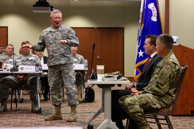 Army Gen. Frank Grass, chief, National Guard Bureau, introduces the Hon. Eric Fanning, acting under secretary of the Army, and Army Gen. Daniel Allyn, vice chief of staff of the Army, at the National Guard Bureau Senior Leadership Conference, Colorado Springs, Colorado, Oct. 28, 2015. (U.S. Army National Guard photo by Master Sgt. Paul Mouilleseaux)