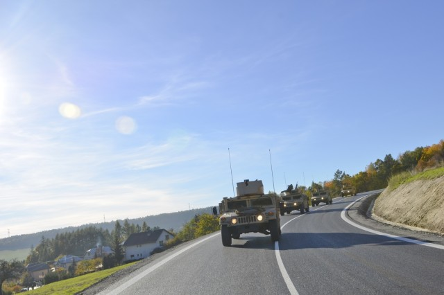 Paratroopers from Company D, 1st Battalion, 503rd Infantry Regiment, 173rd Airborne Brigade cross the Dukla Pass, near Vysny, Slovakia Oct. 27, 2015, during day four of Operation Bayonet Thrust, the multinational road march bringing them home to Italy after a five-month rotation in Lithuania in support of Operation Atlantic Resolve. (U.S. Army photo by Sgt. A.M. LaVey)
