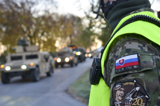 Paratroopers from the 173rd Airborne Brigade drive from Slovakia to Hungary, Oct. 28, 2015, as part of Operation Bayonet Thrust, a multinational convoy bringing the paratroopers of Company D, 1st Battalion, 503rd Infantry Regiment home to Italy, after a month training rotation in Lithuania. (U.S. Army photo by Sgt. A.M. LaVey)