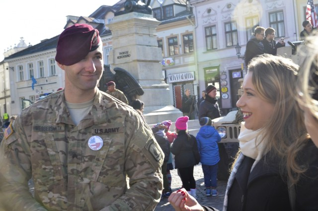Paratroopers from Company D, 1st Battalion, 503rd Infantry Regiment, 173rd Airborne Brigade, along with allies from the Polish 21st Podhale Rifles Brigade, met with schoolchildren and members of the public in Rzeszow, Poland, Oct. 27, 2015, during day four of Operation Bayonet Thrust, the multinational road march bringing them home to Italy after a five-month rotation in Lithuania in support of Operation Atlantic Resolve. (U.S. Army photo by Sgt. A.M. LaVey)