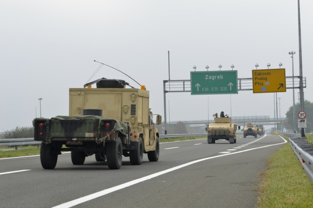 The 173rd Airborne Brigade paratroopers, along with Croatian military police convoy through Croatia as part of Operation Bayonet Thrust, a multinational convoy bringing the Americans home to Italy after five month training in Lithuania as part of Operation Atlantic Resolve.