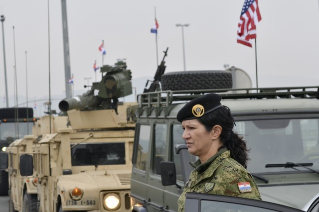 A Croatian military police officer stands watch during a convoy through Croatia, Oct. 29, the final leg of Operation Bayonet Thrust, a weeklong, multinational convoy after five months training in Lithuania,