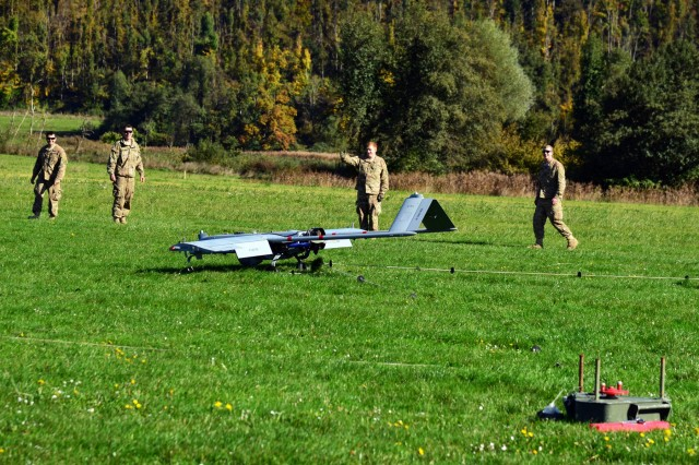 An RQ7B Shadow Technical unmanned aircraft system, assigned to 54th Brigade Engineer Battalion, 173rd Airborne Brigade, lands at Aeroclub Postonja in Slovenia, Oct. 20, 2015, during Exercise Rock Proof V.