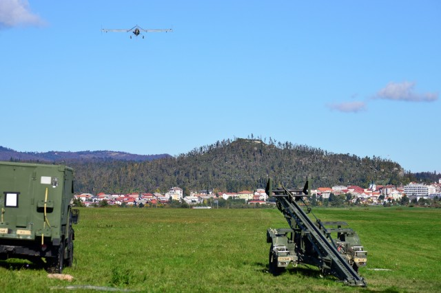 An RQ7B Shadow Technical, unmanned aircraft system, assigned to 54th Brigade Engineer Battalion, 173rd Airborne Brigade, launches from a nitrogen launcher at Aeroclub Postonja in Slovenia, Oct. 20, 2015, during Exercise Rock Proof V.