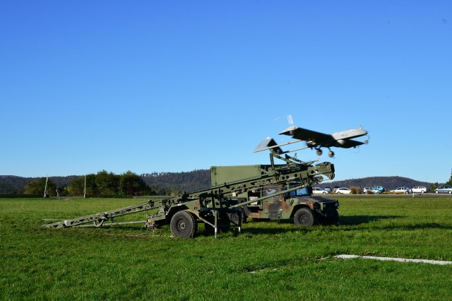 An RQ7B Shadow Technical unmanned aircraft system, assigned to 54th Brigade Engineer Battalion, 173rd Airborne Brigade, launches from a nitrogen launcher at Aeroclub Postonja in Slovenia, Oct. 20, 2015, during Exercise Rock Proof V.
