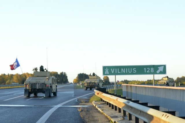 Paratroopers from Company D, 1st Battalion, 503rd Infantry Regiment, 173rd Airborne Brigade, drive only the highway on day one of Operation Bayonet Thrust, en route to Vilnius, Lithuania, Oct. 24, 2015. Bayonet Thrust is name of the multinational convoy bringing the 173rd home from a rotation in the Baltics in support of Operation Atlantic Resolve. (U.S. Army photo by Sgt. A.M. LaVey/173 ABN PAO)