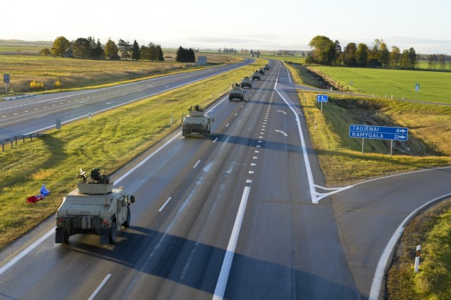 Paratroopers from Company D, 1st Battalion, 503rd Infantry Regiment, 173rd Airborne Brigade, convoy en route to Vilnius, Lithuania, on day one of Operation Bayonet Thrust, Oct. 24, 2015. Bayonet Thrust is name of the multinational convoy bringing the 173rd home from a rotation in the Baltics in support of Operation Atlantic Resolve. (U.S. Army photo by Sgt. A.M. LaVey/173 ABN PAO)