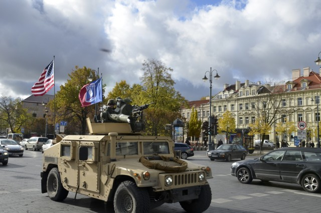 Paratroopers from Company D, 1st Battalion, 503rd Infantry Regiment, 173rd Airborne Brigade, convoy through Vilnius, Lithuania, following a community event on day one of Operation Bayonet Thrust, Oct. 24, 2015. Bayonet Thrust is name of the multinational convoy bringing the 173rd home from a rotation in the Baltics in support of Operation Atlantic Resolve. (U.S. Army photo by Sgt. A.M. LaVey/173 ABN PAO)