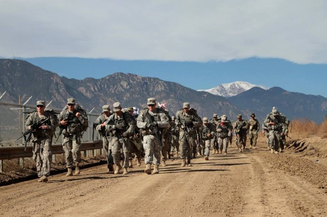 "Soldiers of 2nd Squadron, 1st Cavalry Regiment, 1st Stryker Brigade Combat Team, 4th Infantry Division, host a ""spur ride"" for more than 200 candidates, Oct. 28-29, 2015. The Order of the Spur is a cavalry tradition within the United States Army."