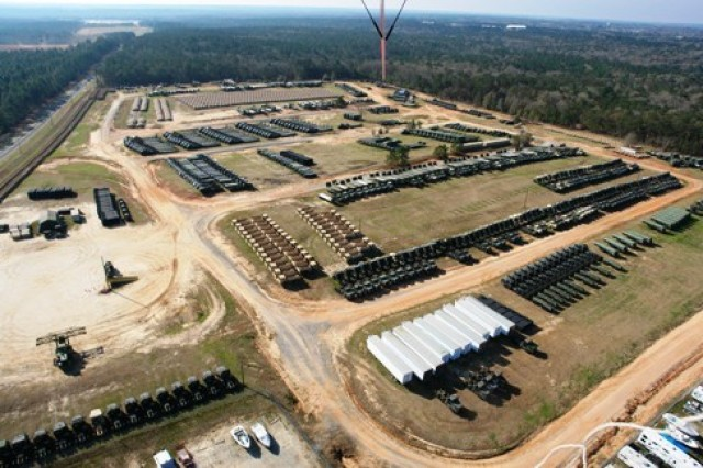 An aerial view of the vehicle storage yard located on Hatch Road on Fort Rucker, Ala. The storage yard is a part of Equipment Concentration Site 151, a U.S. Army Reserve equipment and storage facility under the command of the 81st Regional Support Command.