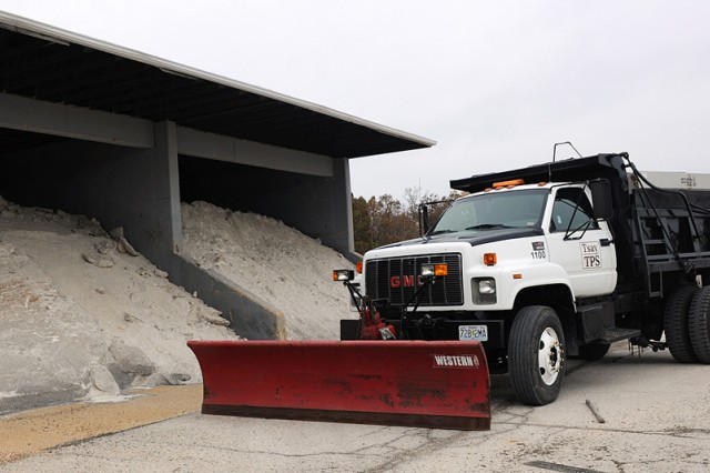Directorate of Public Works contracted snow and ice removal vehicles are being prepared for the upcoming winter season.