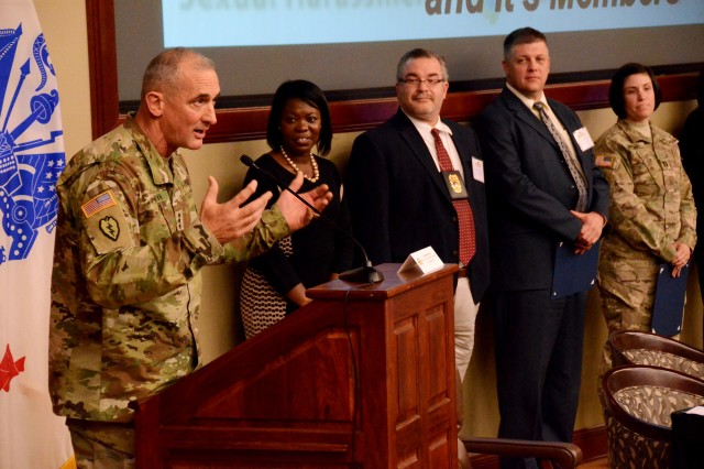 Lt. Gen Robert Brown, commanding general of the U.S. Army Combined Arms Center, thanks the participants and attendees for coming to the SHARP Academy Professional Forum.