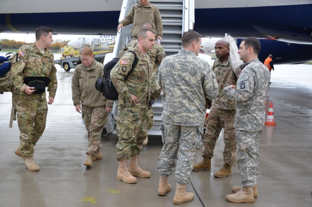 Soldiers of the 3rd Battalion, 227th Aviation Regiment, 1st Air Combat Brigade, 1st Cavalry Division Main Body arrive at Nuernberg Airport, Germany, Nov. 10, 2015. The battalion supports Operation Atlantic Resolve, which is an U.S. Army Europe-led land force assurance training to enhance multinational interoperability, strengthen relationships among allied militaries, contribute to regional stability and demonstrate U.S. commitment to NATO. (U.S. Army photo by Visual Information Specialist Gertrud Zach/released)
