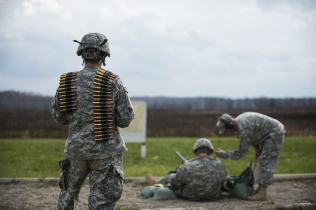 U.S. Army Reserve Soldiers from the 354th Military Police Company, of St. Louis, Mo., and the 384th Military Police Battalion, of Fort Wayne, Ind., take part in an M2 Browning .50-caliber machine gun familiarization range at Camp Atterbury, Ind., Nov. 5. The 384th Military Police Battalion, headquartered at Fort Wayne, Ind., organized a three-day range and field training exercises involving more than 550 U.S. Army Reserve Soldiers and incorporated eight different weapons systems, plus combat patrolling and a rifle marksmanship competition at Camp Atterbury, Ind., Nov. 5-7. (U.S. Army photo by Master Sgt. Michel Sauret)