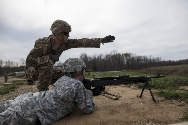 U.S. Army Reserve military police Soldiers from various Midwest states shoot the M240B machine gun at a qualification range at Camp Atterbury, Ind., Nov. 6, during a multi-day training event. The 384th Military Police Battalion, headquartered at Fort Wayne, Ind., organized a three-day range and field training exercises involving more than 550 U.S. Army Reserve Soldiers and incorporated eight different weapons systems, plus combat patrolling and a rifle marksmanship competition at Camp Atterbury, Ind., Nov. 5-7. (U.S. Army photo by Master Sgt. Michel Sauret)