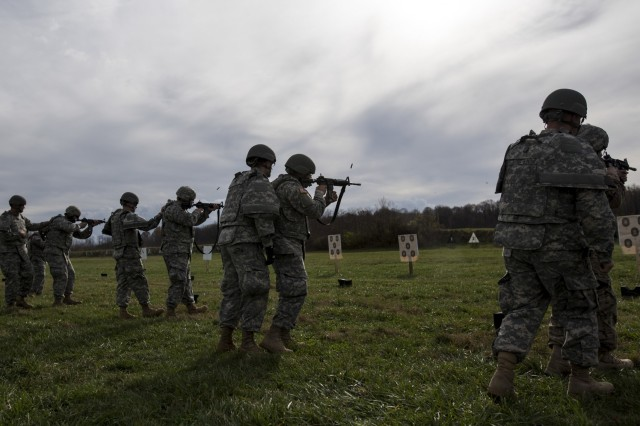 U.S. Army Reserve Soldiers from military police and drill sergeant units fire their rifles at a qualification range during a multi-day training event hosted at Camp Atterbury, Ind., Nov. 6. The 384th Military Police Battalion, headquartered at Fort Wayne, Ind., organized a three-day range and field training exercises involving more than 550 U.S. Army Reserve Soldiers and incorporated eight different weapons systems, combat patrolling and a rifle marksmanship competition at Camp Atterbury, Ind., Nov. 5-7. (U.S. Army photo by Master Sgt. Michel Sauret)