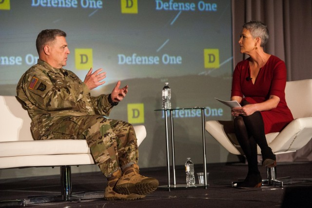 U.S. Army Chief of Staff Gen. Mark A. Milley and FOX News national security correspondent Jennifer Griffin engage in a discussion about setting Army priorities to manage ground threats during the Defense One Summit in Washington, D.C., Nov. 2, 2015.