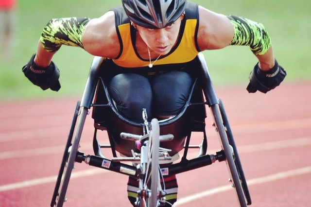 Capt. Kelly Elmlinger competes at the 2015 Department of Defense Warrior Games on Marine Corps Base Quantico, Va., in June.