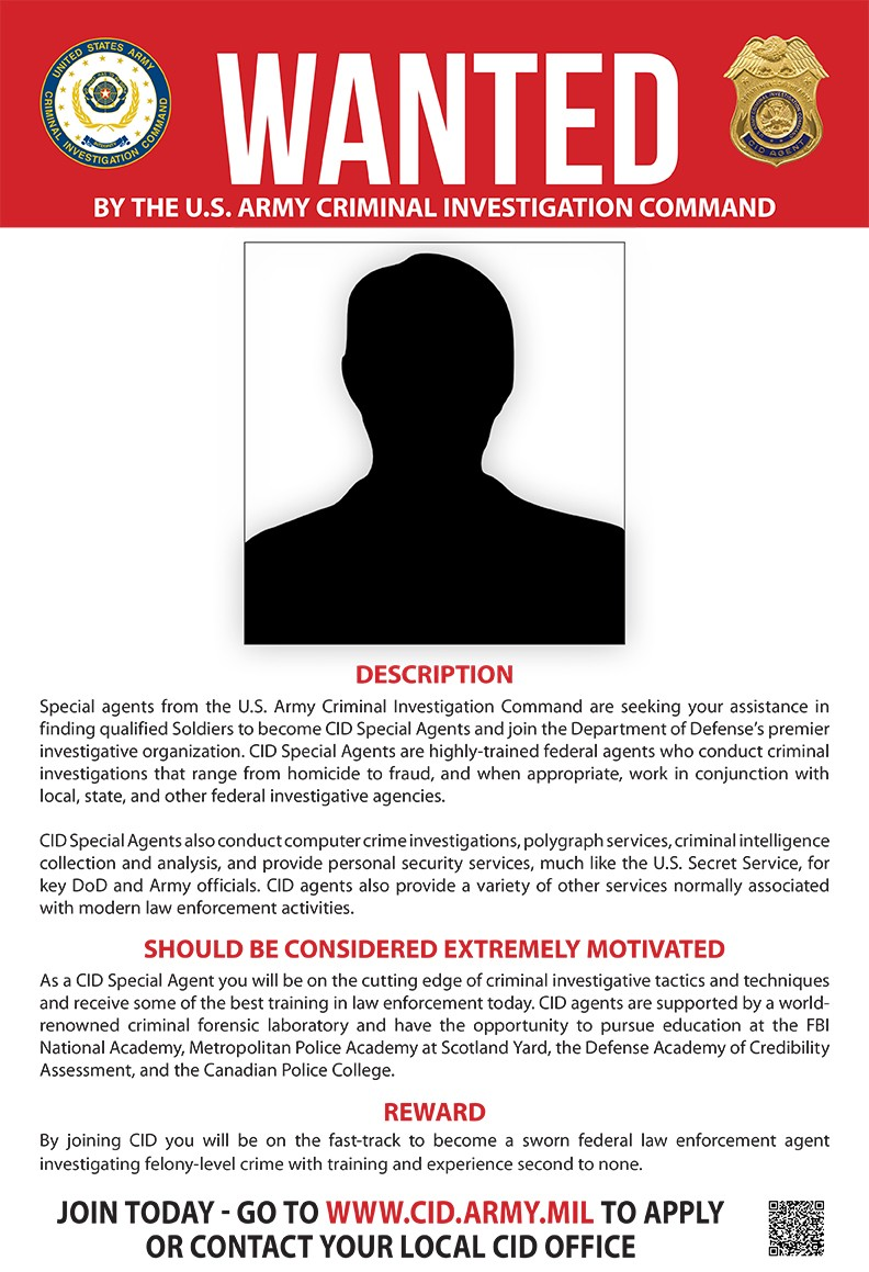 Soldiers Wanted By Army Criminal Investigation Command  Criminal Wanted Poster