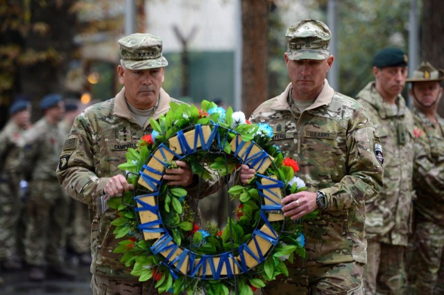 Gen. John F. Campbell, commander of Resolute Support and U.S. Forces-Afghanistan, layed a wreath in honor of those that have given the ultimate sacrifice, Nov. 11. ‪For the Allied countries that fought in World War I, November 11th commemorates Armistice Day or Remembrance Day.