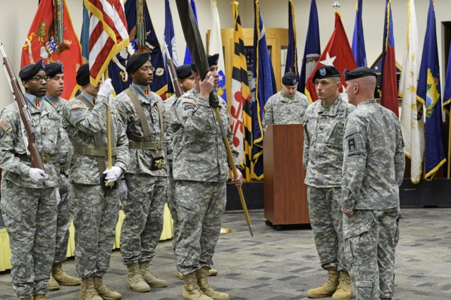 The command team for the 205th Infantry Brigade cased their colors during a ceremony at Camp Atterbury, Ind., Nov. 10, 2015. Col. Robert Molinari and Command Sgt. Maj. Royce Manis performed the ceremony.