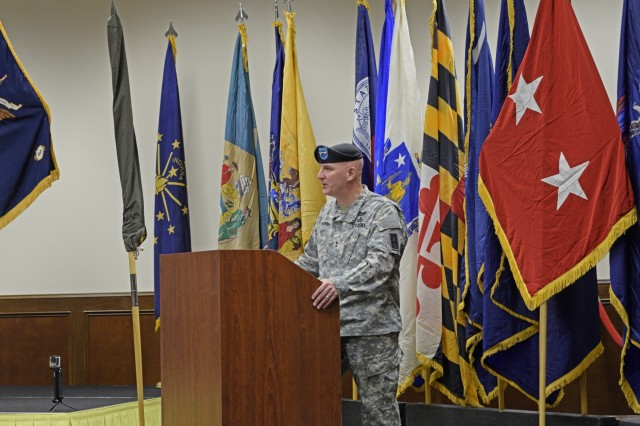 MG Brian McKiernan, Commander of First Army East, spoke at the Casing of the Colors for the 205th Infantry Brigade at Camp Atterbury, Ind., Nov. 10, 2015.
