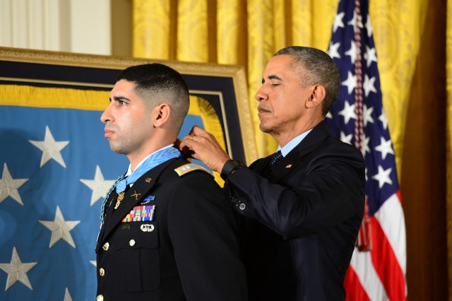 President Barack Obama hosts a Medal of Honor ceremony for retired U.S. Army Capt. Florent Groberg at the White House in Washington D.C., Nov. 12, 2015.