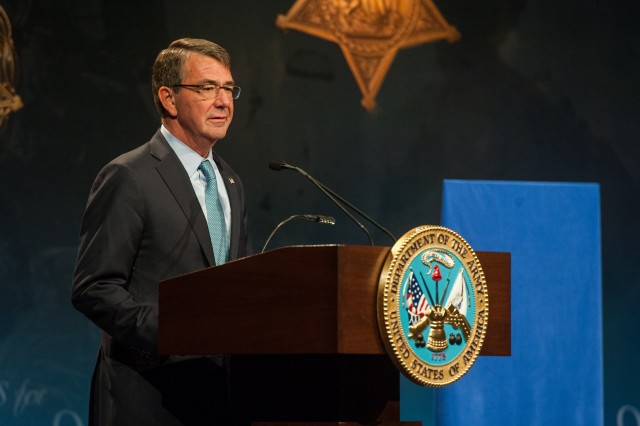 Defense Secretary Ash Carter delivers remarks during the Hall of Heroes Induction Ceremony in honor of Medal of Honor recipient retired Cpt. Florent A. Groberg at the Pentagon, Nov. 13, 2015.
