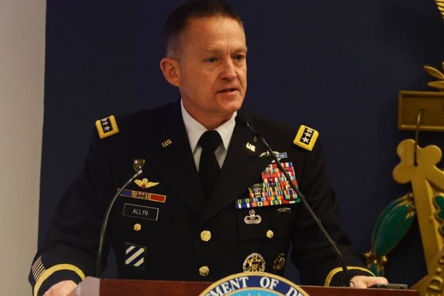 Army Vice Chief of Staff Gen. Daniel B. Allyn praises Army Retirement Services during its 60th anniversary celebration in the Pentagon's Hall of Heroes, Nov. 16, 2015.