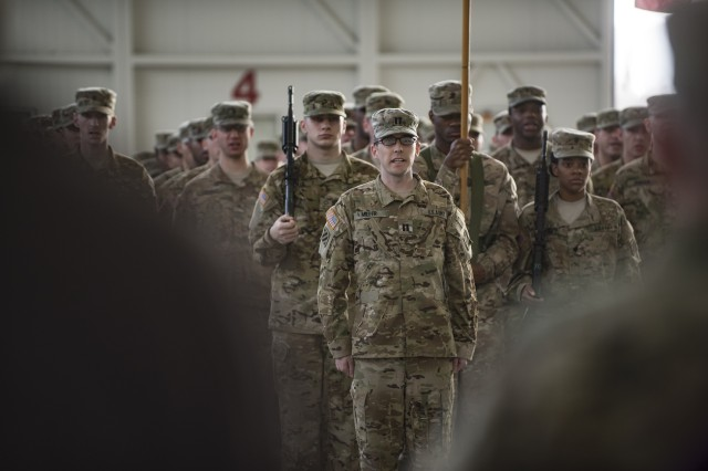 Soldiers of the 4th Battalion, 3rd Aviation Regiment sing the Army Song during a transfer of authority ceremony after a nine month rotation, on Nov. 18, 2015 at Illesheim Army Airfield. The 4-3 Brawlers transferred its responsibility to the 3-227th from Fort Hood, Texas. (U.S. Army photo by Sgt. Thomas Mort, 12th CAB)