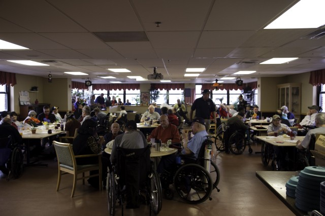 Soldiers assigned to 4th Battalion, 31st Infantry Regiment, 2nd Brigade Combat Team, 10th Mountain Division (LI), Fort Drum, N.Y., visit military veterans who reside at the Syracuse Veterans Medical Center, Syracuse, N.Y., during their Veterans Day visit Nov. 11.