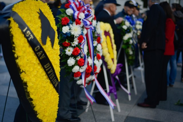 A wreath placed by the 1st Cavalry Division Association stands at the World War II Memorial in Washington D.C. on Veterans Day 2015.