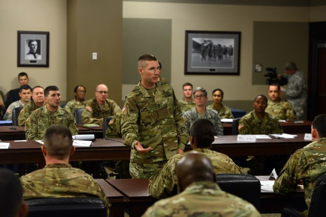 Sgt. Maj. of the Army Daniel A. Dailey speaks at the chief of staff of the Army-sponsored Noncommissioned Officer Solarium II, held at the U.S. Army Command and General Staff College on Fort Leavenworth, Kan., Nov. 19, 2015.